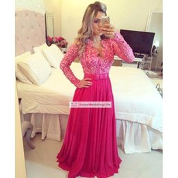 $enCountryForm.capitalKeyWord NZ - Long Sleeves Prom Dresses V Neck Red Lace Beads Sequins Top Bow Knot Sashes A Line Chiffon Pleats Evening Party Gowns Plus Size ABO8000