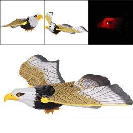 Toy Birds Sound Australia - pestcontrol 17inch Realistic Sounding Electronic Flying Eagle Sling LED Hovering Hawk Birds Scarer Fun Toy Pest Control
