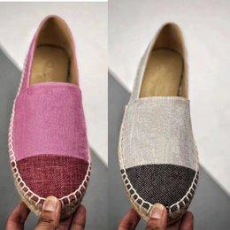 a6220e6e31 New Fashion Designer Espadrilles Flat Shoes Real Lambskin and Canvas women  Summer Loafers Espadrilles Casual Shoes Size EUR3-42 multicolor