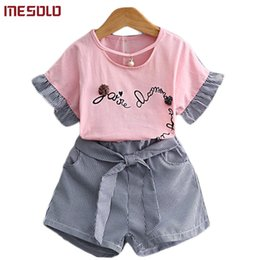 $enCountryForm.capitalKeyWord Australia - good quality 2019 summer wear short-sleeved dress floret question marks Mr. O 'dell fabric + pinstriped pants suit D5298 of the girls