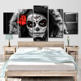 $enCountryForm.capitalKeyWord Australia - -HD Print Sugar Skull Day of Dead Face Group Painting Canvas Print Room Decor Poster Picture Canvas Free Shipping