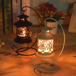 $enCountryForm.capitalKeyWord Australia - 6pcs Wedding Festival small house wrought iron candlestick Creative european-style storm lantern home decor candle holders crafts ornament