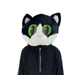 Máscara de la mascota de la cabeza del gato negro Máscara de la cabeza del gato de la venta directa de la fábrica del diseño de moda de la nueva llegada en venta