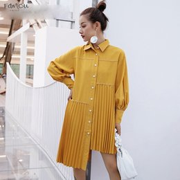 $enCountryForm.capitalKeyWord Australia - Shirt Dresses Women Lantern Long Sleeve Pleated Hem New Female Fashion Long Sleeve Clothes Autumn Dress Drop Shipping