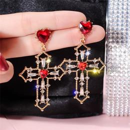 $enCountryForm.capitalKeyWord Australia - Exquisite S925 silver Pin Charm Cross Red Love earrings European Luxury Fashion Shiny Rhinestone Jewelry Earrings for Women Lady Party GIFT