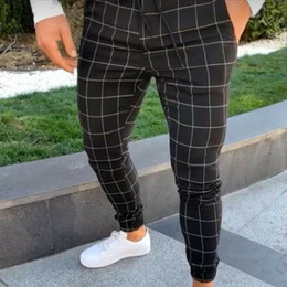 Wholesale plaid pants resale online - Summer New Fashion High Waist Men s Long Trousers Slim Pants Tracksuit Fit Workout Joggers Summer Casual Fashion Men Clothing