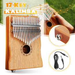 black musical instruments Canada - 17 Key EQ Kalimba Thumb Piano w Tuner Hammer African Traditional Electric Pickup Keyboard Body Musical Instrument Portable w Bag