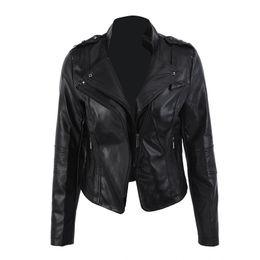 504ba9a71ea Women s Leather Jacket Slim Classic Black Jackets Short Style Zipper Stand  Collar Coat M-3XL Size