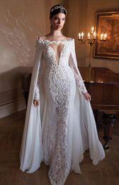 $enCountryForm.capitalKeyWord Australia - Delicate charming White Chiffon Long Cape Lace Applique Bridal Cloak Bridal Prom Party Wrap Wedding For Events Bridal Accessory Custom Made
