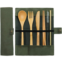 Catering Kitchens Australia - 7pcs set Reusable Bamboo Cutlery Travel Set Dinnerware Teaspoon Fork Soup Knife Catering Cutlery Set Cloth Bag Kitchen Cooking Tools Utensil