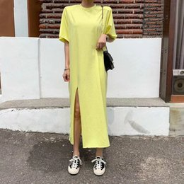 long fork style UK - [EWQ] 2020 Summer Simple Loose Brief Casual Long Dress Chic Brief Vintage Fresh Solid Fork Half-Sleeved T Shirt Style Dresses