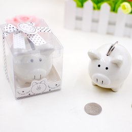 $enCountryForm.capitalKeyWord Australia - EMS Ceramic Mini pig Piggy Bank in Gift Box with Polka-Dot Bow Coin Box for Baby Shower Party Favors Christening Gifts