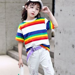 Children White Tees Australia - Fashion 2019 Girls Colorful Striped TShirts For Kids Cotton Short Sleeve Tees Tops Baby Big Girl Summer T Shirt Children Clothes