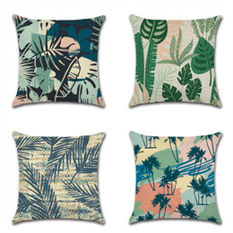 New Embroidered Pillowcases UK - Cross-border special for new tropical plants Abstract leaves green leaves pillowcase cushion cover flax Amazon