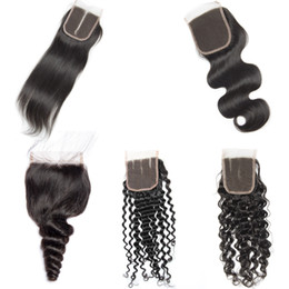 Hair Brown UK - Peruvian Straight Body Wave Loose water Wave Deep Curly Human Hair Lace Closure 130% Density Closure With Baby Hair 4x4 Lace Top Closure