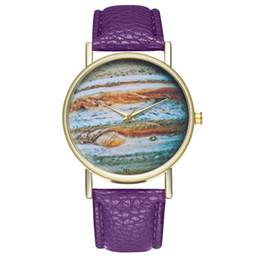 Discount blue planet watch - 2018 New Young Fashion Men Woman Boy Girl Watch Leather Band Quartz Wrist Watch Birthday Gift Planet Jupiter Print Dial