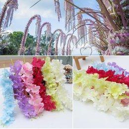 Fake Red Flowers Australia - Newest 8 Colors Red Pink White Artificial flower Cane Wisteria Wall Fake Flowers For Home Wedding Artificial Silk Flower Decoration Flowers