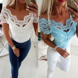 $enCountryForm.capitalKeyWord Australia - Sexy Off Shoulder Lace T Shirt Women Summer Tops Hollow Out Slash Neck T-shirt Casual Slim Fit Tshirt White Blue Tee Shirt Femme SH190709