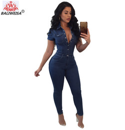 Fitted Denim Jumpsuit Australia - BALIWEISA Sexy Denim Jumpsuits Women Turn Down Collar Short Sleeve Long Rompers Casual Blue Pockets Slim Fit Skinny Overall