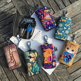 packaging for paintings Australia - 2019 Special Offer Sale Unisex Leather Ladies Key Bag Zipper Hand Painted For Graffiti Printing Korean Mini Keyholders Package wallet