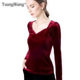 winter long sleeve tees NZ - Autumn Long Sleeve Velvet vintage Women T Shirts 2019 Femme V-Neck Sexy Wine red tees Tops Ladies Slim Winter New Black Tshirts V200330