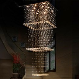 Contemporary Hallways Light Australia - Modern Crystal Chandelier Lighting Contemporary Ceiling Lights Square Stair Hanging Light Fixture for Living Room Staircase Hallway