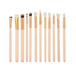 12шт шерстяная нейлоновая щетина деревянная ручка косметический набор кистей для макияжа Nude Color Rose Golden Eye Brushes на Распродаже