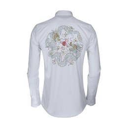 China Crystals Australia - China Style Dragon Embroidery Shirt Men Crystal Decoration 2019 Slim Casual Chemise Homme 80% Cotton Business Male Dress Shirts