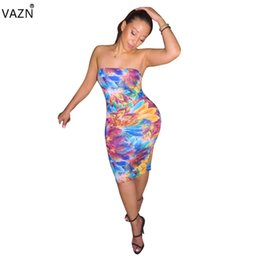 Wholesale VAZN New summer print strapless Dress sexy women knee length Dress young women sexy club style colorful sheath ALS093