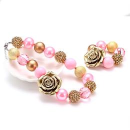 kids chunky necklace bracelet set 2019 - Vcmart Girls Vintage Piink Golden Flower Bubble Necklace Bracelet Kids Chunky Choker Children Princess Jewelry Set SH190