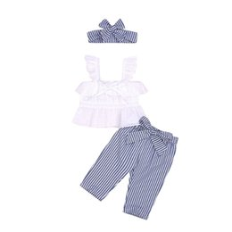 $enCountryForm.capitalKeyWord UK - Summer girl kids clothes Set Sleeveless rabbit ear sling top+striped trousers+bows Headband 3pcs sets Kids Designer Clothes Girls DHL JY372