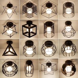 $enCountryForm.capitalKeyWord NZ - Vintage E27 Ceiling Lights Iron Black Ceiling Lamp Retro Cage Light Kitchen Fixtures Luminaria Lamparas De Techo Home Lighting
