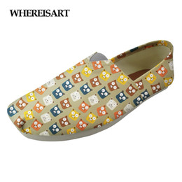 Printed Canvas Shoes For Ladies Australia - WHEREISART Cartoon Women Cute Flats Shoes Woman Animal Cat Puzzle Lady Casual Beach Shoes for Girls Fashion Female Canvas