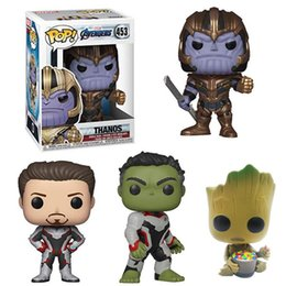 Red Hulk Figures Australia - Funko POP Marvel Avengers Infinity War Thanos Hulk Tony Stark Groot Movie Figures Comics Heroes Gifts Kids