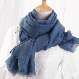 islam prints Australia - Solid Color Scarf Cotton Linen Ethic Hollow Cut Scarf Fringes Large Wraps Stoles Muslim Hijabs Scarves Islam Wrap