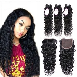 Wholesale Brazilian Water Wave Virgin Hair Bundles With Lace closure Brazilian Human hair Extensions Bundles With Lace Closure Products