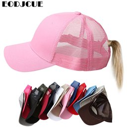 $enCountryForm.capitalKeyWord Australia - 2019 Newest Ponytail Hat Baseball Women Men Cotton Hair Net Cap Adjustable Snapback Mesh Sun Hat Girls Sports