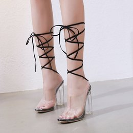 Woman Fans Australia - Sexy2019 Wish European Transparent Fan Chalaza High With Sandals Foreign Women's Shoes