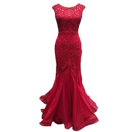 Dress Real Australia - 5491 Luxury Sexy Mermaid Burgundy Tulle Prom Dresses 2019 Beaded Maxi Dress 100% Real Images Party Evening Gown Backless Pageant Plus Size