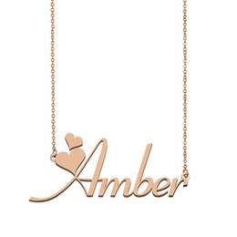 gold pendants children NZ - Amber Name Necklace Pendant for Women Girlfriend Gifts Custom Nameplate Children Best Friends Jewelry 18k Gold Plated Stainless Steel