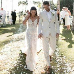 $enCountryForm.capitalKeyWord Canada - Summer Beach Ivory Linen Men Suits Groom Wear Men Wedding Tuxedos 2Piece Coat Pants Evening Party Prom Costume Homme Terno Masculino