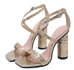 $enCountryForm.capitalKeyWord Australia - Hot Sale- Glitter green red sequined cross strappy wedding shoes silver gold thick heels luxury designer sandal women shoes Size 35 To 40