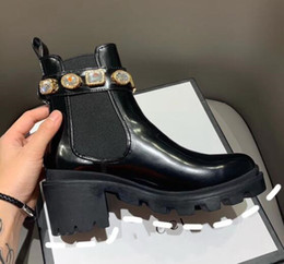 Belt Buckles for shoes online shopping - with Box Female luxurious Martin Boots Women s Rhinestone Leather Ankle Boot With Belt Boots And Booties For Women Shoes