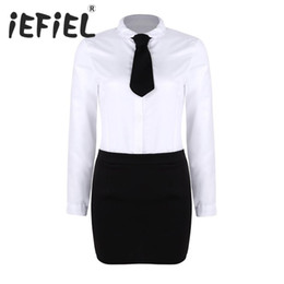 $enCountryForm.capitalKeyWord UK - Women Adult Office Secretary Cosplay Costume Uniforms Long Sleeves Shirt with Split Mini Bodycon Skirt and Tie for Dress Up sexy