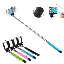 Wholesale Extendable Handheld Selfie Stick With Remote Shutter Button mm Cable Wired Selfie Monopod For Android IOS Phone