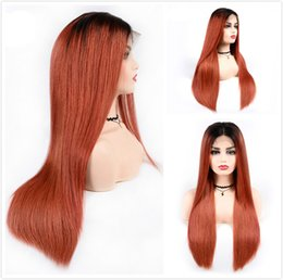 Braided Colored Hair Australia - 150% Density Human Hair Ombre Wigs Colored Orange Indian Straight Full Lace Wig Pre Plucked T1B 350 African American Braided Lace Front Wig