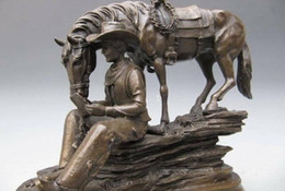 Book Money Australia - 10 West Cowboy Reading Book And Horse Pure Bronze Copper art Statue