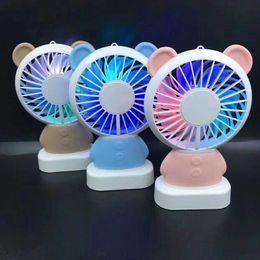 $enCountryForm.capitalKeyWord Australia - Mini USB Fan Summer Cartoon Rabbit Bear Panda LED Light Handheld Portable USB Lanyard Fan For Kids Gifts