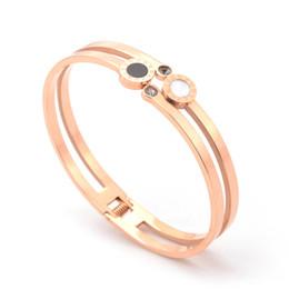 $enCountryForm.capitalKeyWord UK - Valentine's day gift 316L stainless steel bangles women's rose gold bangles rhinestone bangles Roman numeral bangle semi-precious jewelries