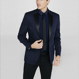 $enCountryForm.capitalKeyWord Australia - Groom Tuxedos Navy Blue Jacket Mens Suits for Wedding 2 Piece Italian Groom Suits Slim Fit Custom Man Wedding Tuxedo Suit